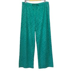 Oscar de la Renta Luxe Green Velour Lounge Pants